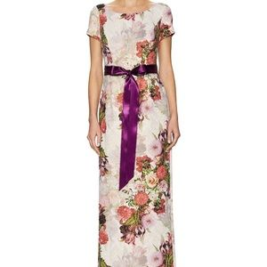 Adrianna Papell Jacquard Floral Gown Maxi Dress 4